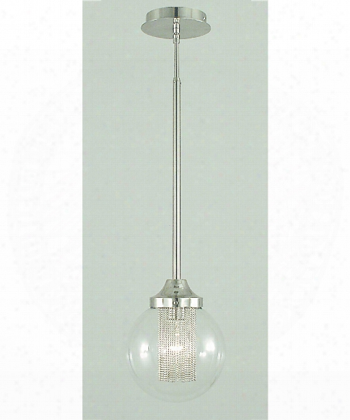"Moderne 8"" 1 Light Mini Pendant In Polished Silver"