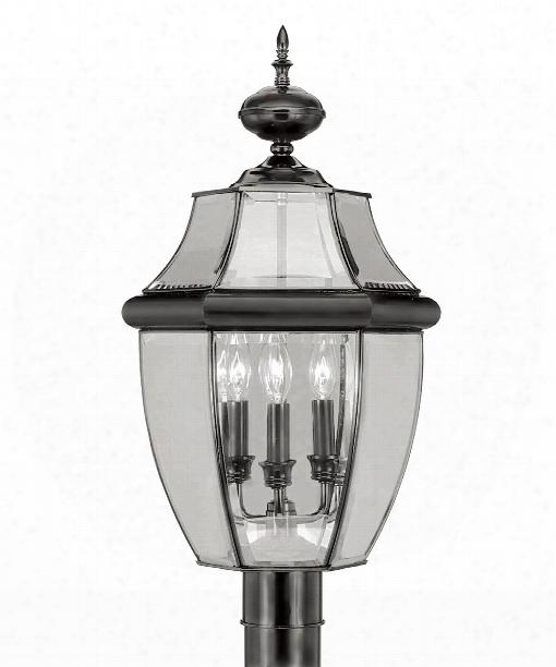 """Monterey 13"""" 3 Light Outdoor Post Lamp In Black"""