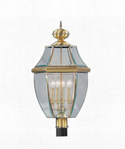 "Monterey 16"" 4 Light Outdoor Post Lamp In Antique Brass"