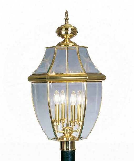 "Monterey 16"" 4 Light Outdoor Post Lamp In Polished Brass"