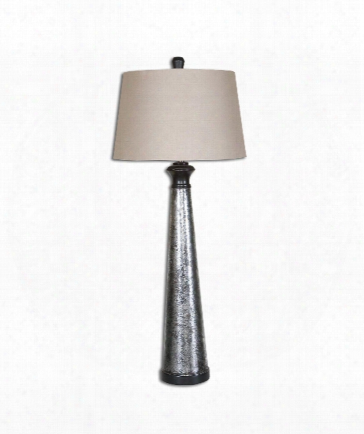 "Mustapha 16"" 1 Light Table Lamp In Silver Leaf"