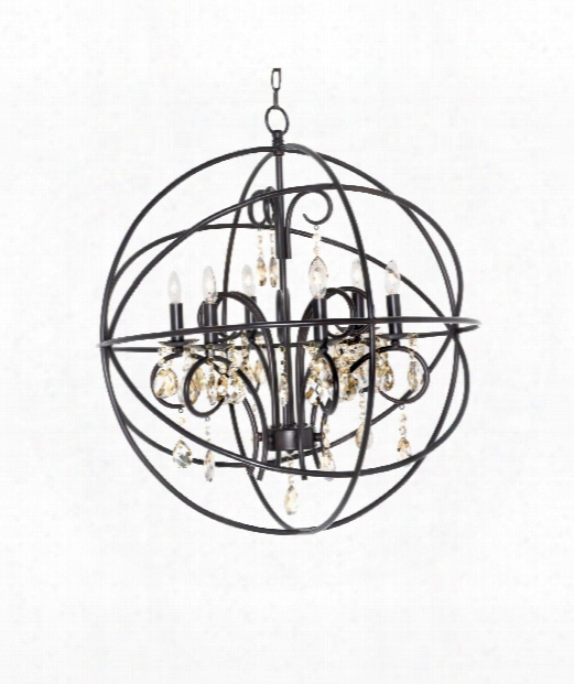"Orbit 25"" 6 Light Chandelier In Oil Rubbed Bronze"