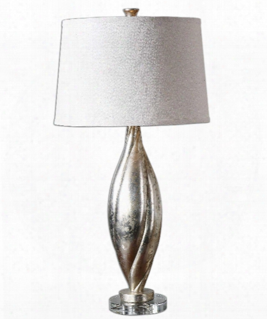 "Palouse 16"" 1 Light Table Lamp In Antiqued Silver-champagne Leaf"