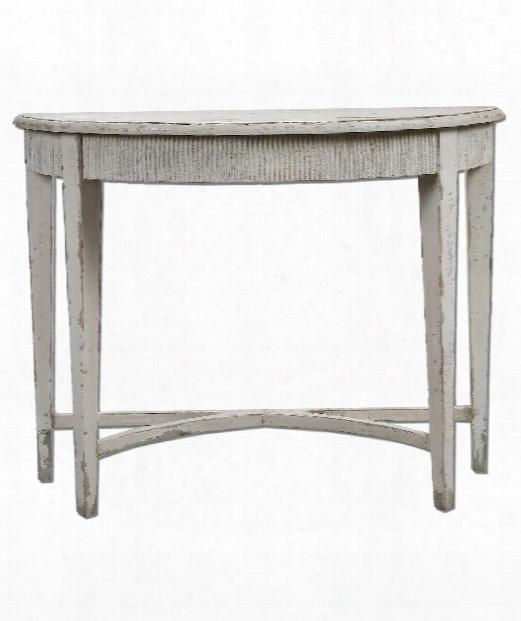 "Parisio 43"" Console Table In Distressed Antique White"