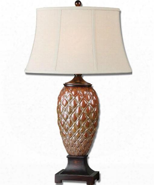 """Pianello 20"""" 1 Light Table Lamp In Heavily Mottled Rust Brown Glaze"""