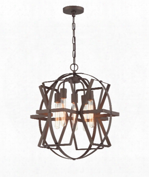 "Reel 21"" 5 Light Large Pendant In Rustic Bronze"