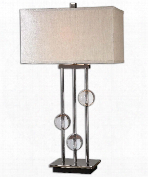 "Rodeshia 18"" 1 Light Table Lamp In Plated Black Chrome"