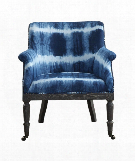 "Royal 29"" Occasional Chair In Cobalt-driftwood Wash-antique Brass"