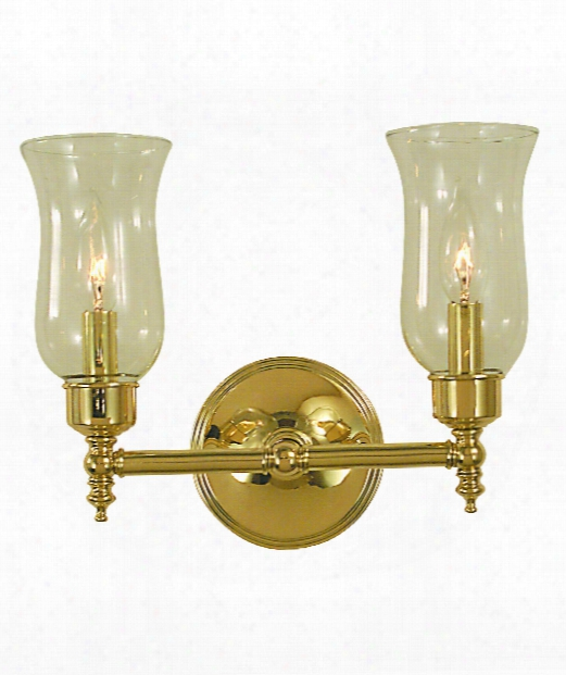 "Sheraton 13"" 2 Light Bath Vanity Light In Antique Brass"