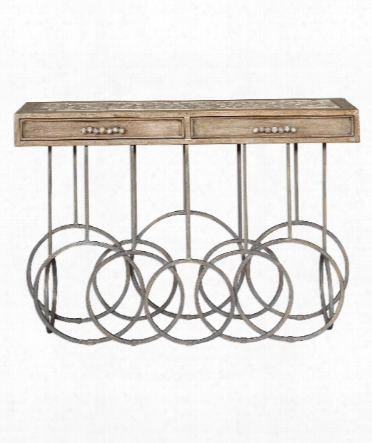 """Silana 52"""" Console Table In Having Lived Galvanized Steel-distressed Oak"""