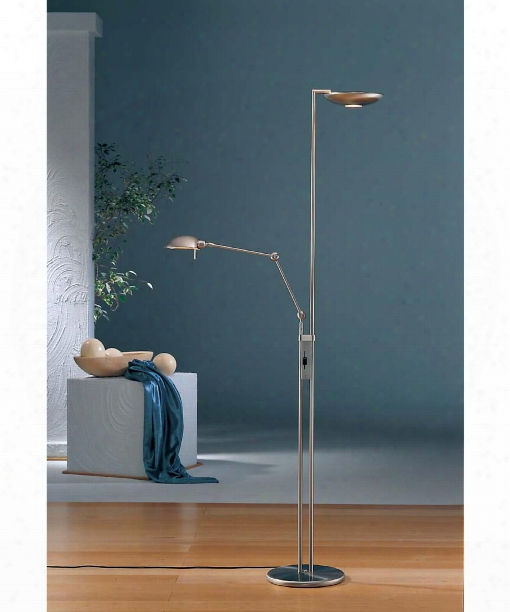 """The Ultimate Lighting Machine 12"""" 6 Light Torchiere Lamp In Satin Nickel"""