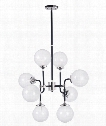 "Atom 28"" 8 Light Large Pendant in Black and Polished Nickel"