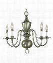 "Jamestown 25"" 5 Light Chandelier in Antique Brass"