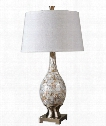 "Madre 18"" 1 Light Table Lamp in Mosaic Tiles Of Mother Of Pearl"