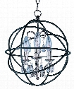 "Orbit 12"" 3 Light Mini Chandelier in Anthracite and Polished Nickel"