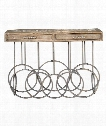 "Silana 52"" Console Table in Aged Galvanized Steel-Distressed Oak"