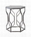"Stellan 20"" Accent Table in Bright Silver Leaf-Gray Antiquing"