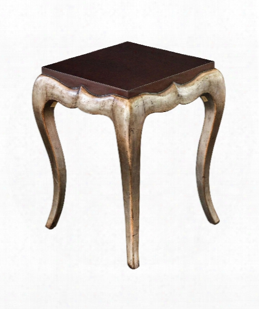 """Verena 20"""" End Table In Dark Mahogany-antique Champagne Silver Leaf"""