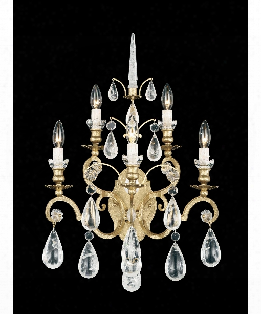 """Versailles Rock Crystal 16"""" 5 Light Wall Sconce In Heirloom Gold"""