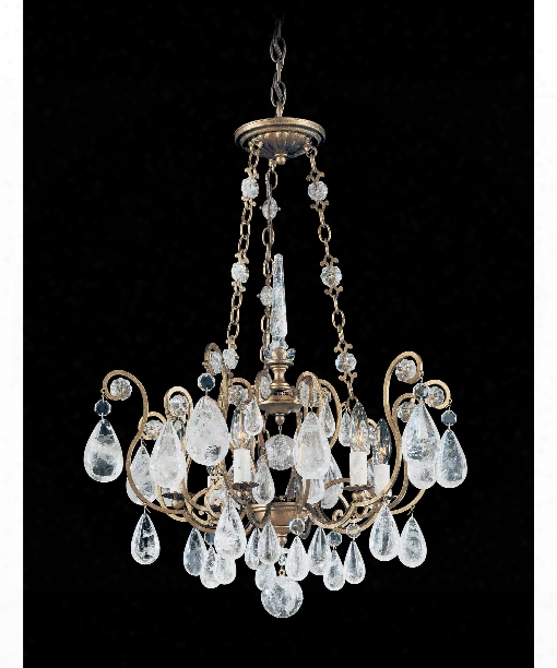 "Versailles Rock Crystal 22"" 6 Light Chandelier In Etruscan Gold"