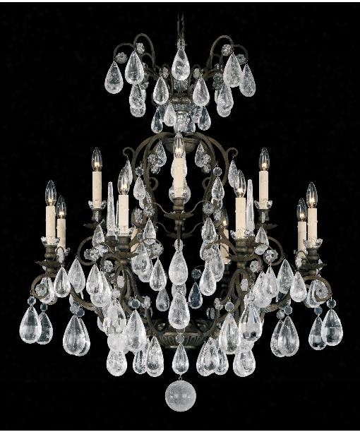 """Versailles Rock Crystal 33"""" 13 Light Chandelier In Heirloom Bronze"""