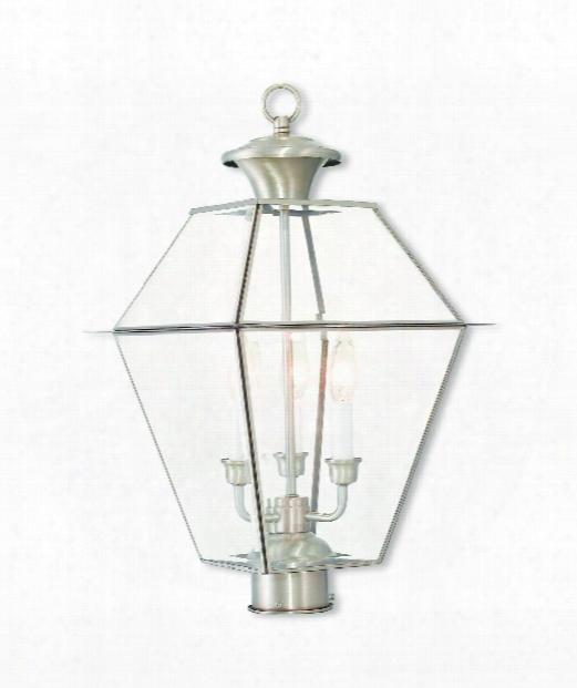 """Westover 12"""" 3 Light Outdoor Outdoor Post Lamp In Brushed Nickel"""