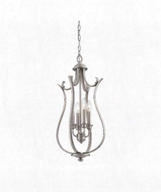 "13"" 4 Light Foyer Pendant In Pewter"