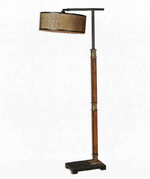 """Allendale 16"""" 1 Light Reading Lamp In Distressed Burnished Wood"""