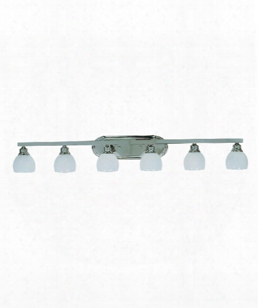"Belmont 53"" 6 Light Bath Vanity Light In Polished Silver"