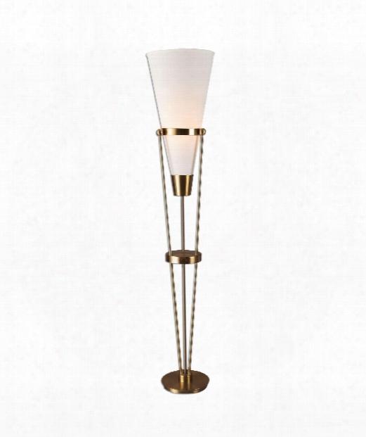 "Bergolo 14"" 1 Light Floor Lamp In Plated Brushed Brass Finish"