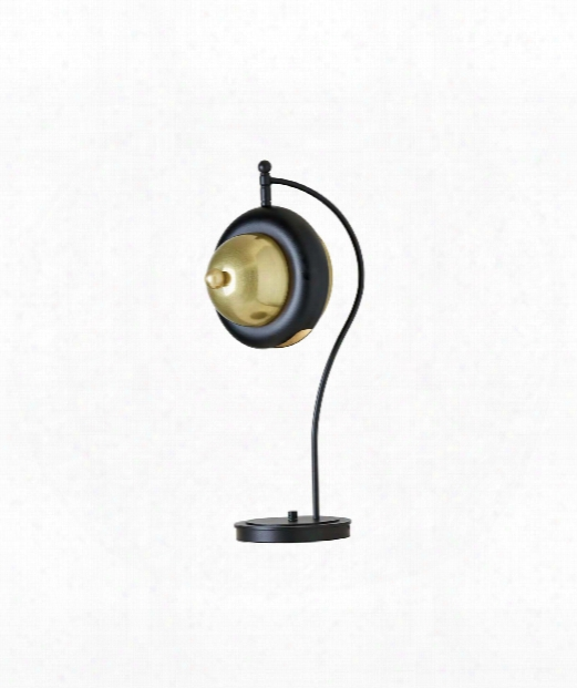 "Bob 12"" 1 Light Accent Lamp In Brass With Black"