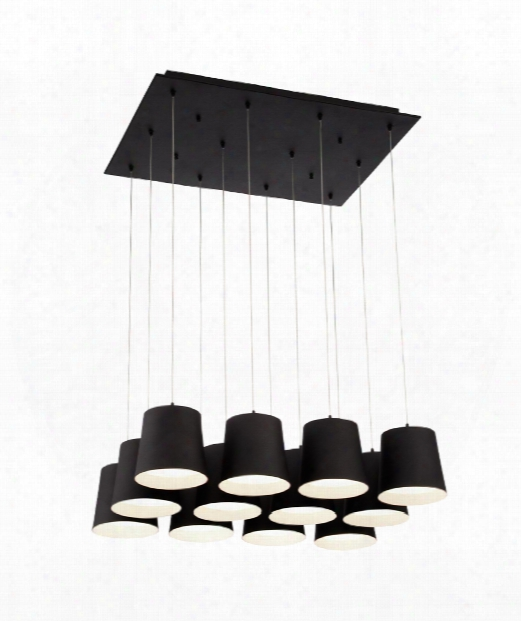 "Borto 27"" Led 12 Light Multi Pendant Light In Black"