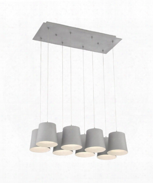 "Borto 27"" Led 8 Light Multi Pendant Light In Grey"
