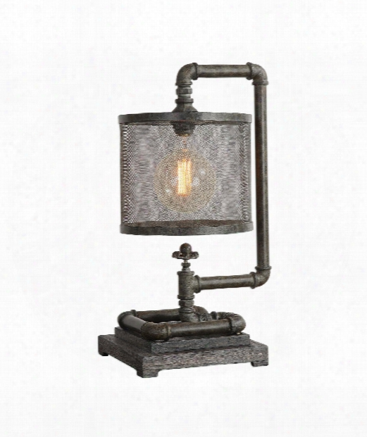 """Bristow 10"""" 1 Light Table Lamp In Rust Bronze With A Patina Gray Wash"""