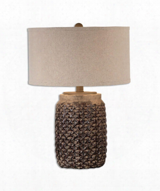 """Bucciano 17"""" 1 Light Table Lamp In Burnished Rust Brown"""