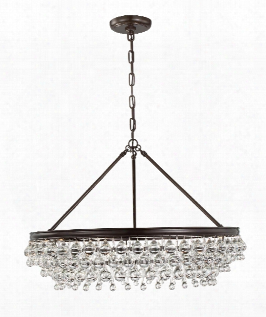 "Calypso 30"" 6 Light Chandelier In Vibrant Bronze"