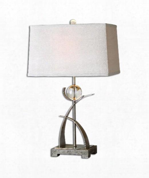 "Cortlandt 10"" 1 Light Table Lamp In Antique Silver"
