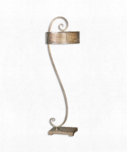 "Dalou Scroll 18"" 2 Light Floor Lamp In Antique Silver Champagne"
