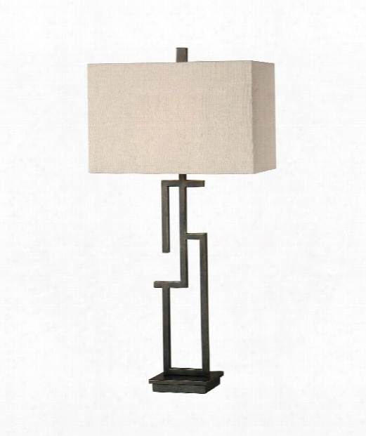 """Demer 16"""" 1 Light Table Lamp In Hand Forged Metal"""