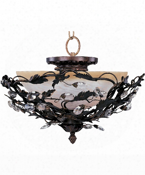 "Elegante 17"" 3 Light Semi Flush Mount In Oil Rubbed Bronze"