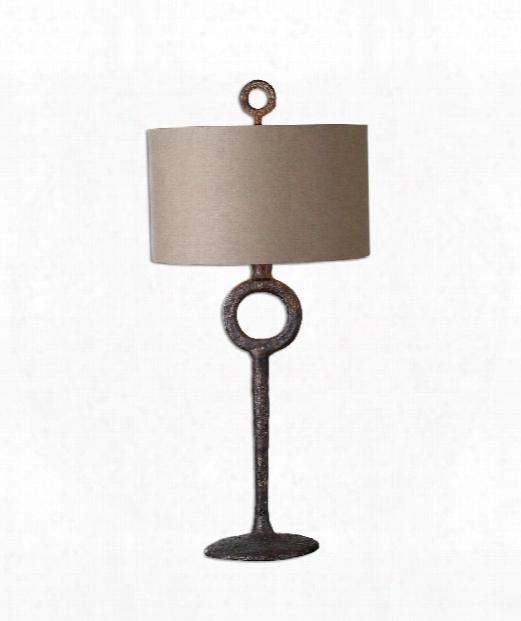 "Ferro 16"" 1 Light Table Lamp In Aged Rust Bronze"