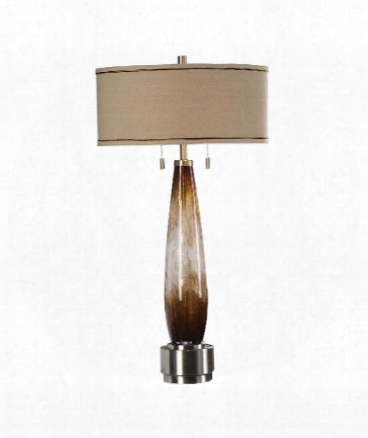 "Garonne 18"" 2 Light Table Lamp In Amber Bronze And Ivory With Mottled Metallic Gold-plated Brushed Nickel"