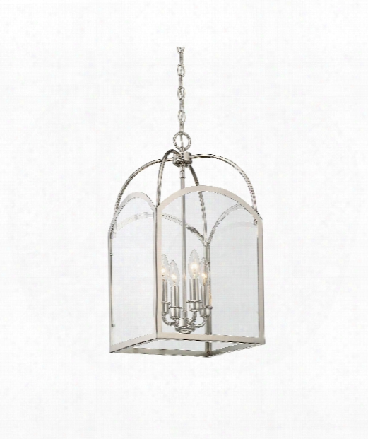 "Garre 12"" 4 Light Outdoor Foyer Pendant In Polished Nickel"