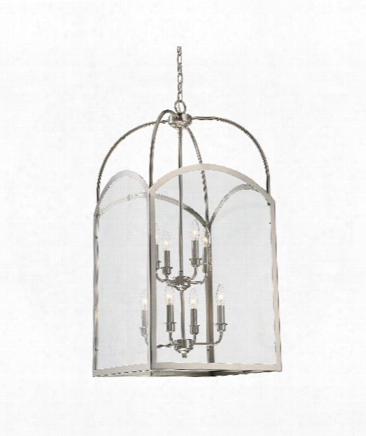 "Garre 18"" 8 Light Outdoor Foyer Pendant In Polished Nickel"