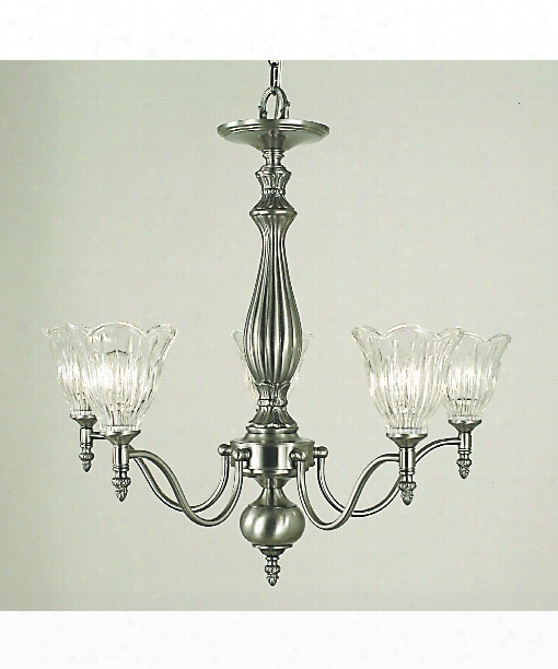 "Geneva 25"" 5 Light Chandelier In Brushed Nickel"