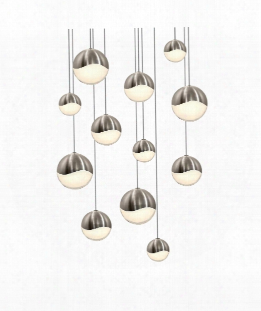 "Grapes 17"" Led 12 Light Multi Pendant Light In Satin Nickel"