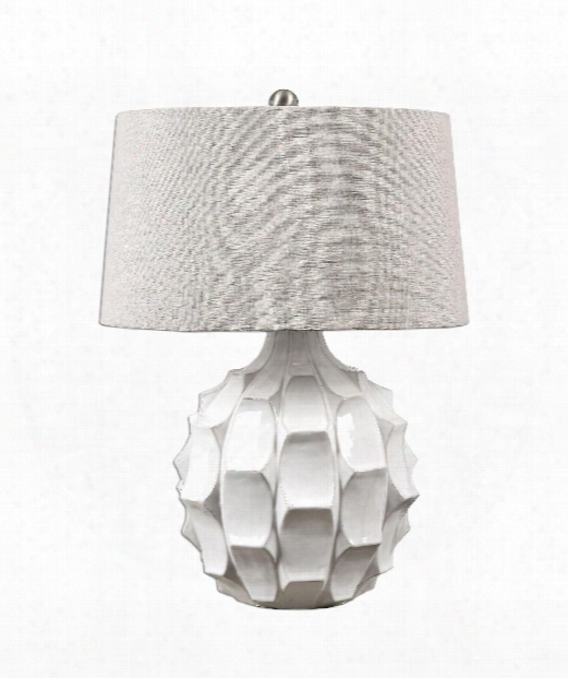 """Guerina 19"""" 1 Light Table Lamp In Distressed Gloss White-plated Brushed Nickel"""