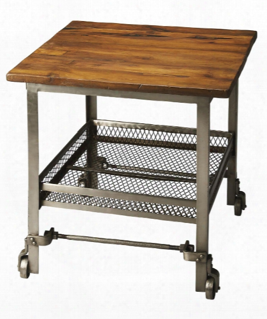 """Industrial Chic 26"""" Accent Table In Multi-color"""