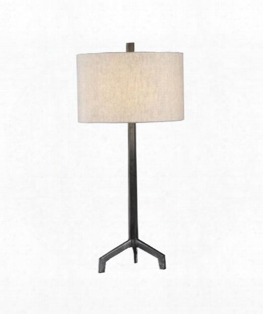 "Ivor 16"" 1 Light Table Lamp In Raw Steel"