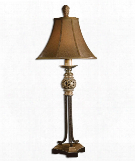 Jenelle 1 Light Table Lamp In Distressed Antiqued Gold Leaf